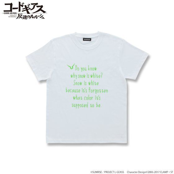 CODE GEASS Lelouch of the Rebellion T-shirts with English words C.C.