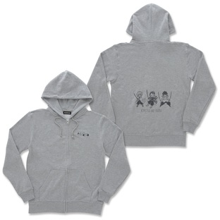 Super-Deformed Characters Gray Zip Hoodie—Demon Slayer: Kimetsu no Yaiba