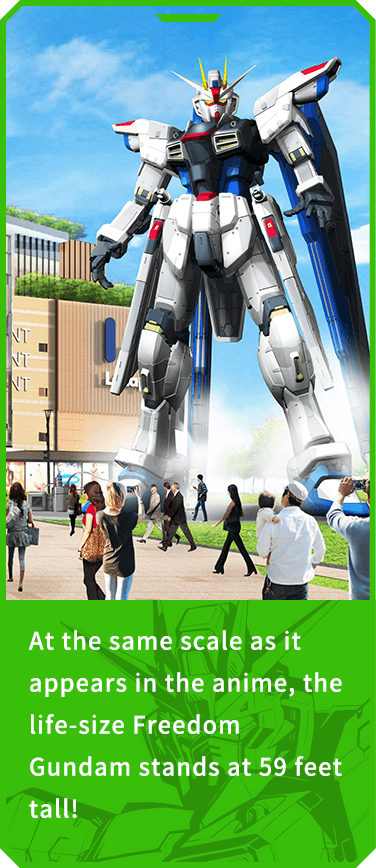 At the same scale as it appears in the anime, the full-size Freedom Gundam stands at 59 feet tall!