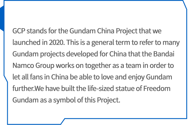 The life-size Freedom Gundam will be installed in front of 'Mitsui Shopping Park LaLaport SHANGHAI JINQIAO' (which will be the first Mitsui Fudosan Group facilities to be operated in Shanghai) with viewings planned to start in 2021 alongside the opening of the shopping park.