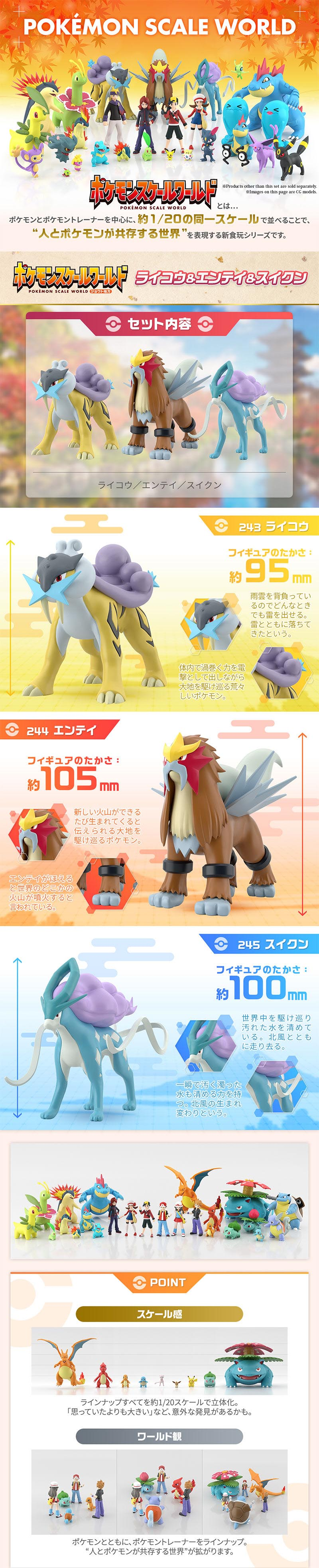 POKEMON SCALE WORLD JOUTO Raikou & Entei & Suicune